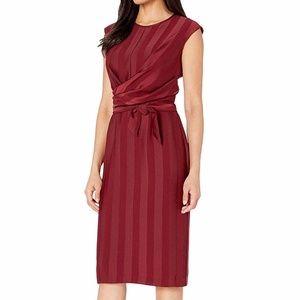 Maggy London Striped Faux Wrap Sheath Midi Dress